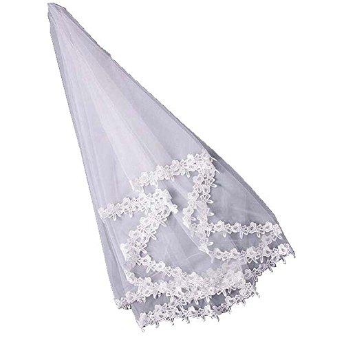 Beau voile de mariage de mariée de couche simple de Fleuret de 1.5M, blanc d'ivoire
