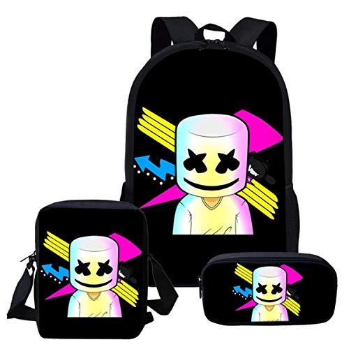 WEIXINNUO, Marshmallow dreiteiliger Rucksack, Schultasche, 17 x 6 x 23 cm., Schwarz - 3 - Größe: Einheitsgröße