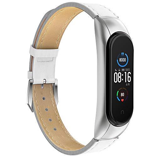 GeeRic Kompatibel Mit Xiaomi Mi Band 5/6 Armband,Leder Replacement Wrist Strap Band Uhrenarmband Handgelenk Band Kompatibel für Xiaomi Mi Band 5