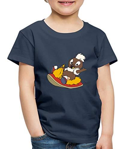 Sandmännchen Pittiplatsch Fliegt Auf Pantoffel Kinder Premium T-Shirt, 122-128, Navy