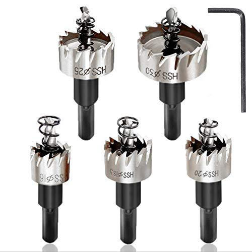 Juego de 5 sierras perforadoras multiuso de metal, diámetro 16 mm/18,5 mm/20 mm/25 mm/30 mm, para madera, acero inoxidable, hierro, cobre, latón, aluminio, plateado
