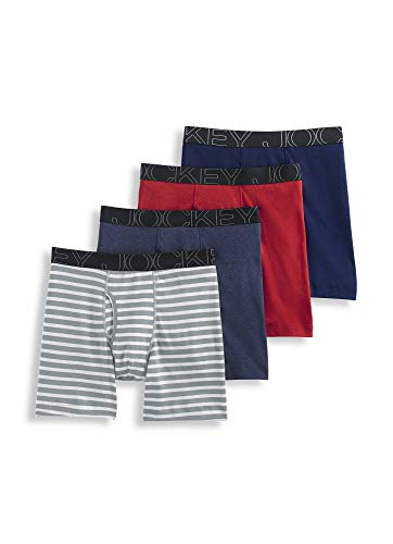 Jockey Men's Underwear ActiveBlend Midway - 4 Pack, Grey Stripe/Rough Blue/Racing Red/Navy, XL