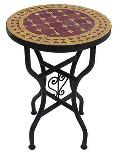Saharashop Marokkanischer Mosaiktisch Rund Ø 40 cm Bordeaux-Gelb