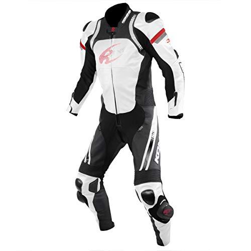 コミネ KOMINE バイク レーシングレザースーツ つなぎ 本革 レース MFJ公認 CE規格レベル2 White/Black 2XL 02-053 S-53 [並行輸入品]