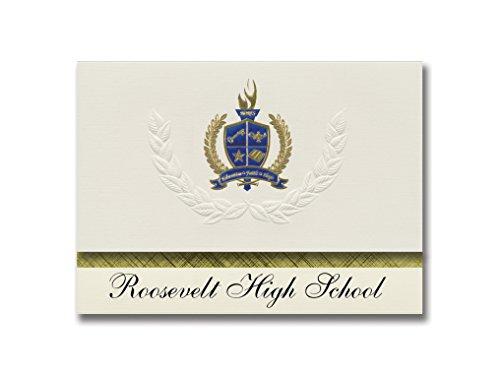 Signature Announcements Roosevelt High School (Chicago, IL) Abschluss-Ankündigung, Presidential-Stil, Grundpaket von 25 Stück, mit goldener & blauer Metallic-Folienversiegelung