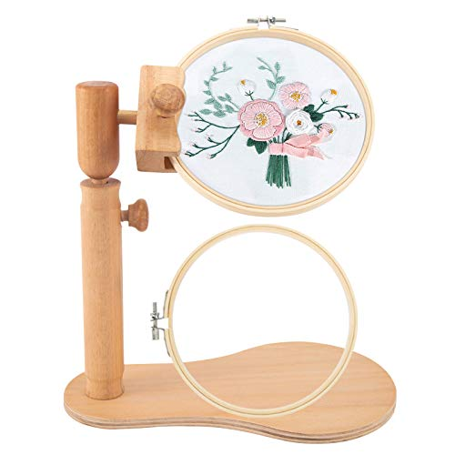 Rotated Adjustable Embroidery Frame Stand with 2 Pcs 6.7'' Embroidery...