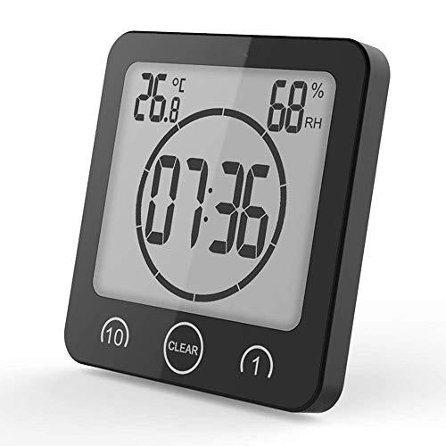 VORRINC Reloj de Baño, Despertador Digital, Temperatura Humedad Reloj Digital Reloj Temporizador, Alarma Impermeable Temporizador de Cuenta Regresiva, LCD Control Táctil, para Baño de Cocina (Negro)