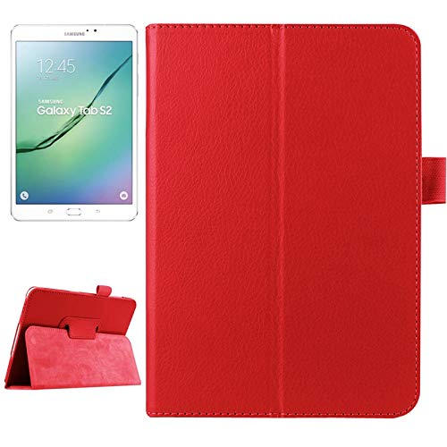 MOYOFEE JYMD ACD Litchi Texture Horizontal Flip Solid Color Smart Leather Case with Two-folding Holder & Sleep/Wake-up Function for Galaxy Tab S2 9.7 / T815 (Color : Red)