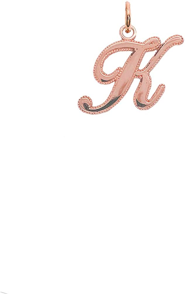 Solid 10k Rose Gold Personalized Cursive-Style A-Z Initial Pendant