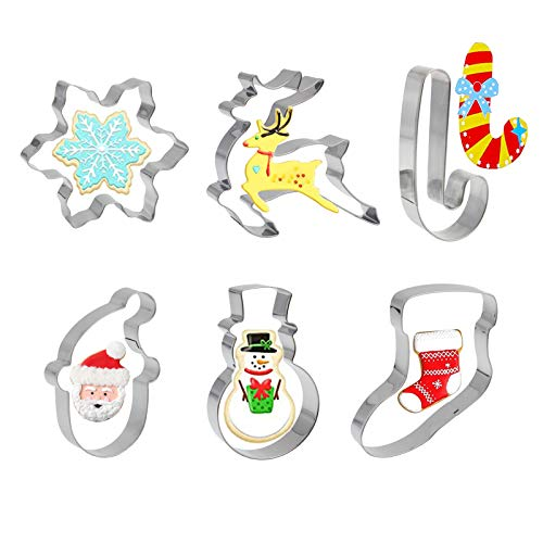 Mziart Christmas Cookie Cutter Set for Baking, 6 Piece Holiday Cookies Molds Biscuit Cutter - Christmas Shapes with Santa Claus, Snowman, Snowflake, Stocking, Walking Stick, Reindeer