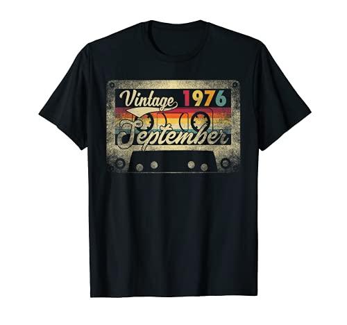 September 1976 45th Birthday Gift 45 Years Old Retro Vintage Camiseta