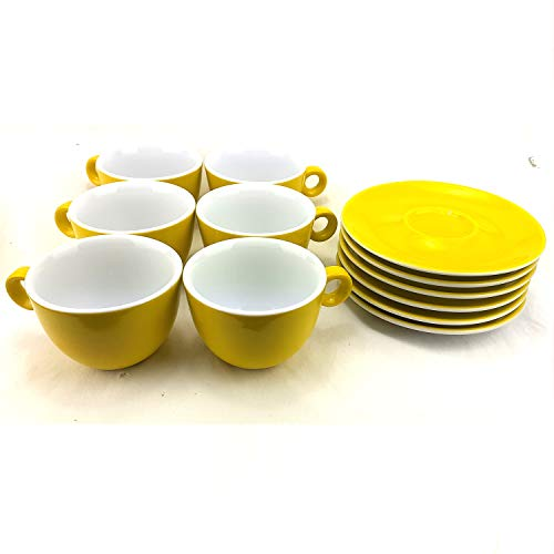 Juego de 6 Tazas para Capuccino de Porcelana con Platos, Capacidad 210ml, Color Amarillo, ideal para café con leche.