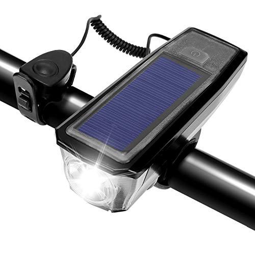 FREESOO Luci Bicicletta LED Ricaricabile USB Energia Solare 2 in 1 Fanalino Anteriore con Altoparlante 3 modalità di Illuminazione Impermeabile Faro Luce LED Anteriore per MTB Bici Strada Città