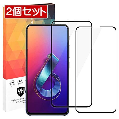 iitrust AUSU Zenfone 6 (ZS630KL) ガラスフイルム 日本製素材 全面保護 2個セット ラウンドエッジ加工 C03555-C-BLK 黒