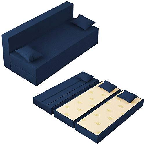 Baldiflex Divano Letto 3 Posti Modello TreTris in Poliuretano Rivestimento Sfoderabile e Lavabile, Colore Blu