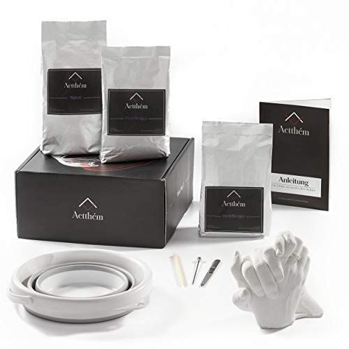 Aetthém - Vinci No. 3 - Handabdruck Set für Paare - edler Gips, Alginat Abformmasse & Falteimer - 3D Gipsabdruckset - personalisierte Geschenke - Partner Geschenke - Geschenkideen