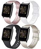 AK 4er-Set Kompatible für Apple Watch Armband 38mm 42mm 40mm 44mm, Weiche Silikon Ersatz Armband für Apple Watch Series SE 6 5 4 3 2 1 (#Roségold/Gold/Schwarz/Weiß, 38mm/40mm-S/M)