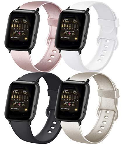 AK 4er-Set Kompatible für Apple Watch Armband 38mm 42mm 40mm 44mm, Weiche Silikon Ersatz Armband für Apple Watch Series 5 4 3 2 1(#Roségold/Gold/Schwarz/Weiß, 38mm/40mm-S/M)