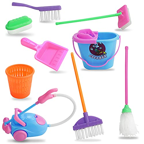 WENRERO 9 PCS Juguete de Limpieza Herramientas de Limpieza en Miniatura Kit de Limpieza para Niños Juego Limpieza Infantil Herramientas de Limpieza de Muñecas Cepillo Escoba Fregona Cubeta para DIY