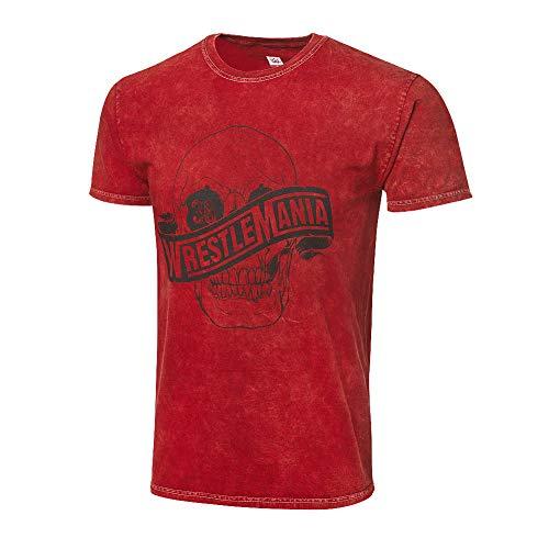 WWE Authentic Wear Wrestlemania 36 Mineral Wash T-Shirt Red Medium