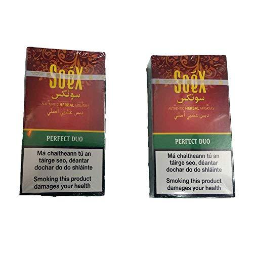 Soex 2 paquetes de 50 gramos cada uno para cachimbas sin Nicotina sabor de 2 manzanas