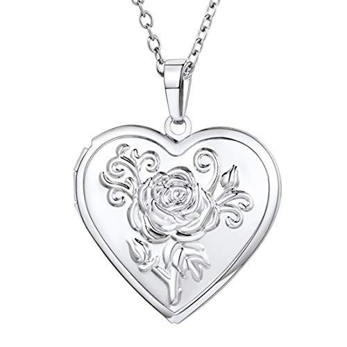 U7 Colgante Corazón Collar para Mujer relicario guardapelo
