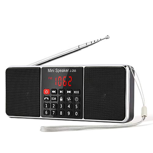 PRUNUS J-288 Portable Radio AM FM Battery Operated Radio with Bluetooth Speaker, Sleep Timer, Power-Saving Display, Ultra-Long Antenna, AUX Input & USB Disk & TF Card MP3 Player (Black)