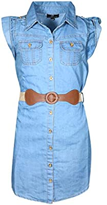 dollhouse Girls' Belted Denim Peasant Dress (Toddler/Little Girl/Big Girl) (7/8, Light Button Down)'