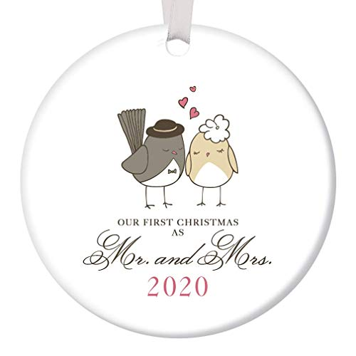 "Our First Christmas as Mr & Mrs Ornament 2019 Adorable Newlywed Love Birds Ceramic Keepsake Wedding Gift 1st Holiday Married Couple Present 3"" Flat Porcelain with White Ribbon & Free Gift Box OR00047"