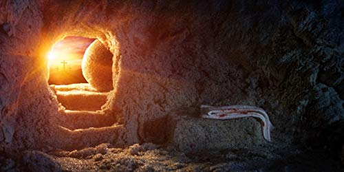 AOFOTO 10x5ft Empty Tomb Hole Cross Cave Photography Background Sunrise Crucifixion Resurrection of Jesus Christ Burial Grave Shroud Easter Stone Holy Christian Backdrop Photo Studio Props Banner