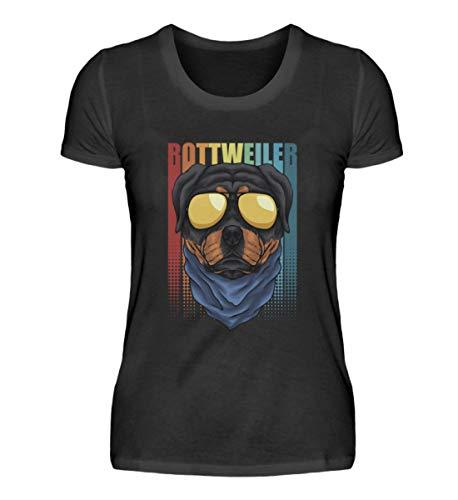 Rottweiler - Camiseta retro para mujer con gafas de sol Negro XL