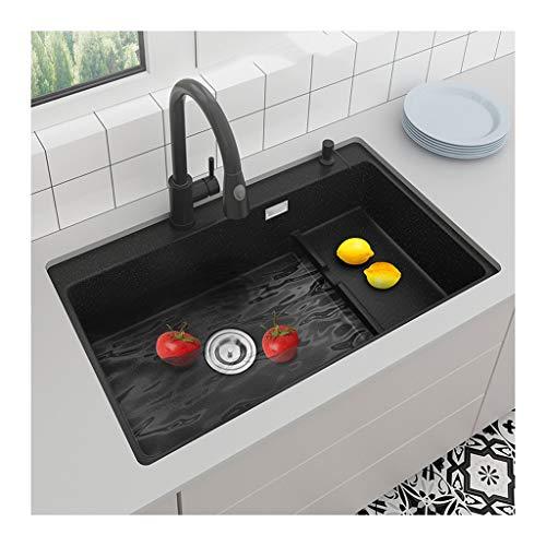 Enrasadode para Cocina Fregadero de piedra de cuarzo de una taza, fregadero de la cocina negro bajo lavabo mostrador cuenca gran capacidad de sumidero del fregadero de granito Fregadero Sobre Encimera