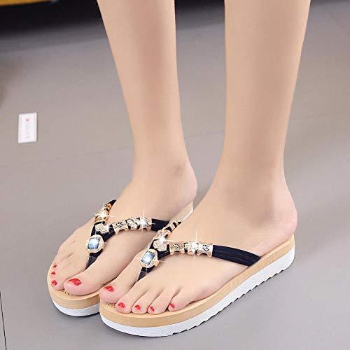 xinghui Sandalias Impermeables para Mujer Zapatos de sandar, Taladro, descuidado, descuidado, Zapatos de Playa-Negro_35