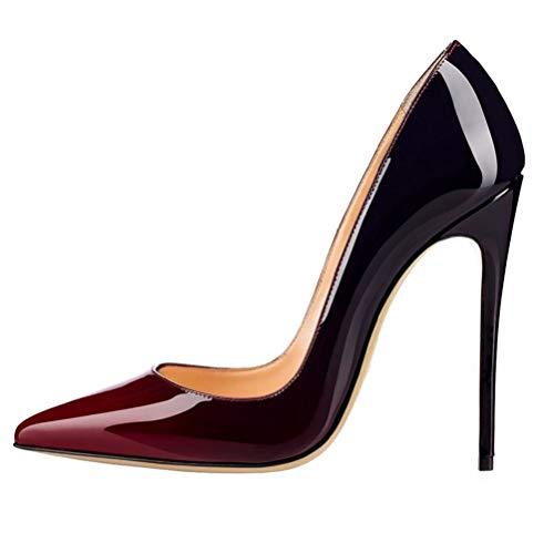 Frauen High Heel Pumps Schuhe Extrem High Heels Schwarz Nude Grund Frauen Gericht Schuhe Spiegel Leder Stilettos