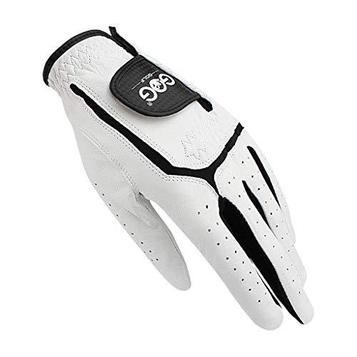 LSHUNYDE Golfzubehör Golfhandschuhe Echtes Schaffellleder für Herren Linke und rechte Hand Weiße atmungsaktive Handschuhe für Golfer Perfekt für Anfänger Golf 2Paare, links, 25,links,25
