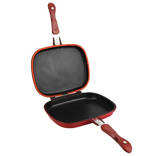 28CM Double‑Sided Square Frying Pan, Kitchen Steak Skillet BBQ Non‑Stick Pan Aluminium Alloy Cookware for Home Outdoor