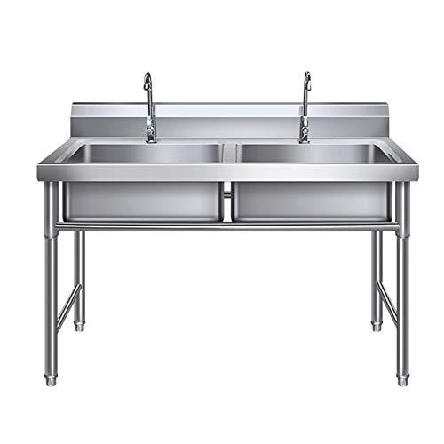 Fregadero de acero inoxidable 304, fregadero de cocina de 2 compartimentos con grifo, diseño impermeable de alto deflector, resistente al aceite y fácil de limpiar, lavadero de cocina interior al ai