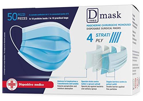 Dulàc - D Mask - Mascarilla quirúrgica desechable - 50 PIEZAS - CE - 4 Capas - Clip ajustable - Hipoalergénico e impermeable - Producto sanitario de clase 1 - EN 14683