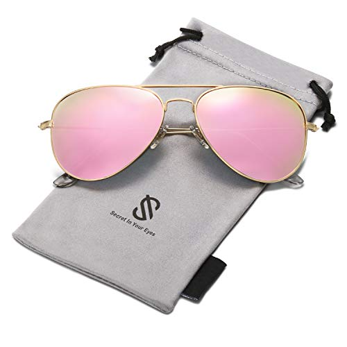 SOJOS Classic Aviator Polarized Sunglasses for Men Women Vintage Retro Style SJ1054 with Gold Frame/Pink Mirrored Lens