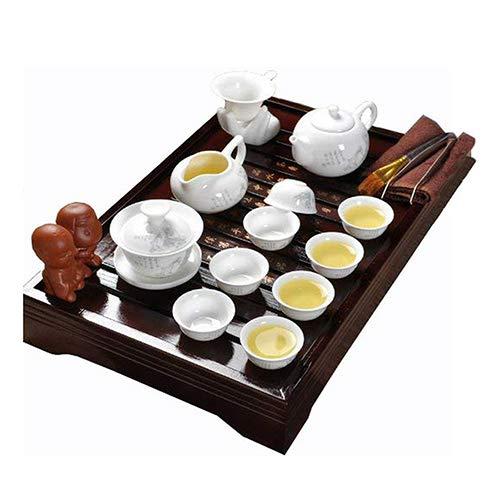 ufengke Set da tè Kung Fu Servizio da tè Cinese, Fine Motif Servizio da tè in Ceramica Classico con Vassoio del tè Legno, per Regalo, La Famiglia E Uf