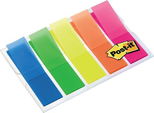 Post-it 683HF5 Index, 5 x 20 durchgefärbte Haftstreifen im Etui (11,9 x 43,2 mm) blau, grün, gelb, orange, pink