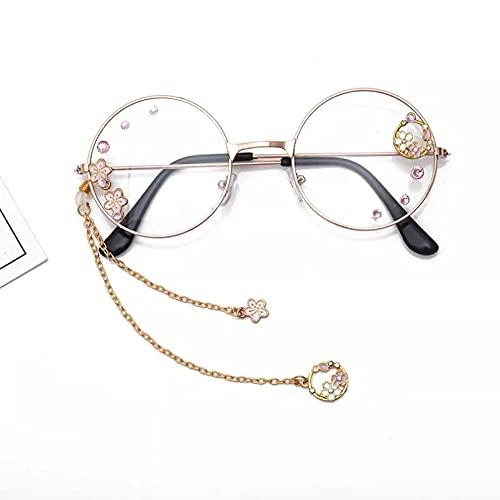 BAJIE Gafas de Sol, Bonita Corona de Flores de Cerezo, Montura de Gafas ópticas Transparentes, Gafas Redondas para Mujer, Gafas con Colgante Hecho a Mano, Lentes