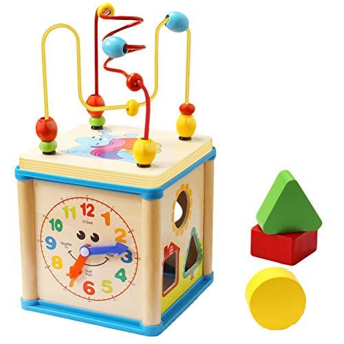 BSTQC Educativos para la Primera Forma de Madera del Grano Laberinto Clasificador Actividad Cube Regalos para el bebé de los niños Caja de Herramientas