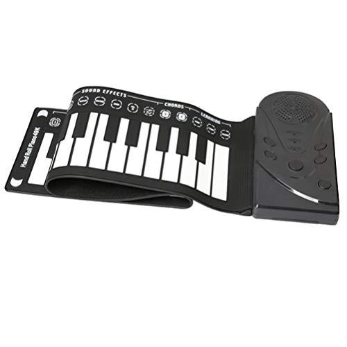 Exceart Oprolbare Piano 49 Toetsen Draagbaar Opvouwbaar Elektronisch Handrol Pianotoetsenbord Met Luidspreker Voor Kinderen Volwassenen Beginners Oefenen Zonder Batterij Zwart