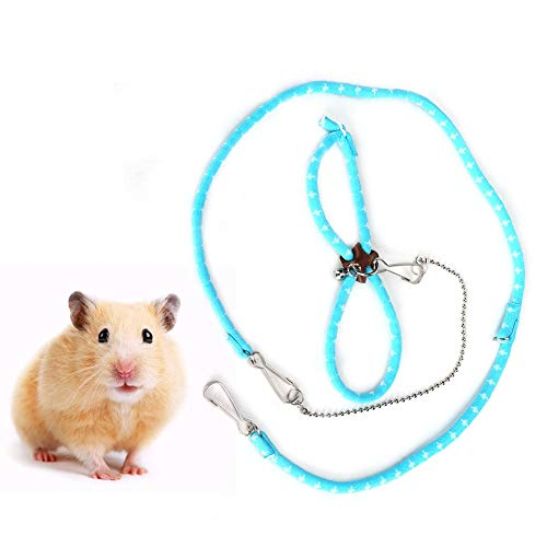 GOTOTOP Hamster Leinen Seil High Stretch Garn Zart Schönes Training Zuggeschirr für Kleintiere Haustiere Meerschweinchen Kaninchen(Blau)