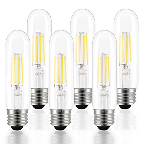 T10 LED Bulbs Daylight 4000K LED Tubular Edison Light Bulbs 4W Dimmable Tube Vintage Led Bulbs 40 Watt Equivalent,E26 Medium Base, LED Filament Retro Bulb for Desk Lamp, Pendant Lights(6-Pack)