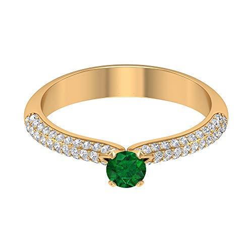 Anillo solitario de esmeralda de 4 mm, anillo de diamante lateral HI-SI, anillo de compromiso de oro (calidad AAA), 14K Oro amarillo, Size:EU 63