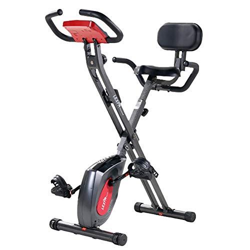 Erru Bicicleta Estática Bicicleta de Ejercicios Plegable Gris Vertical, Bicicleta Estacionaria de Entrenamiento con Respaldo, para el Hogar, Hombres/Mujeres y Personas Mayores, Carga 150kg