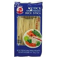 Fideos de arroz de gallos, 3 mm, 1ª calidad, paquete de 1 (paquete de 1 x 375 g)