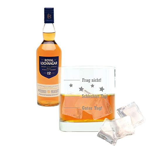 Whiskey 2er Set, Royal Lochnagar 12 Years / Jahre, Single Malt, Whisky, Scotch, Alkohol, Alokoholgetränk, Flasche, 40%, 700 ml, 615698, Geschenk zum Vatertag, mit graviertem Glas